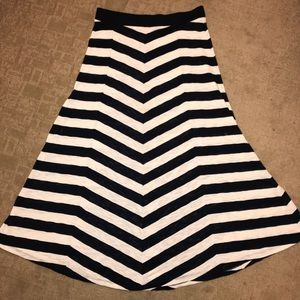 INC International Concepts Navy Striped Maxi Skirt